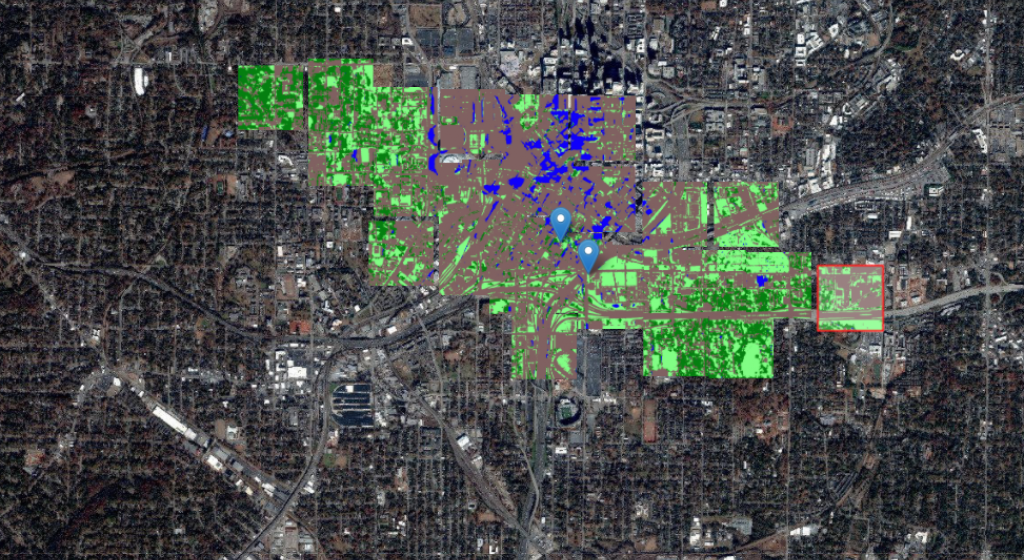 Aerial and satellite image of Atlanta with deep learning labeling on top.