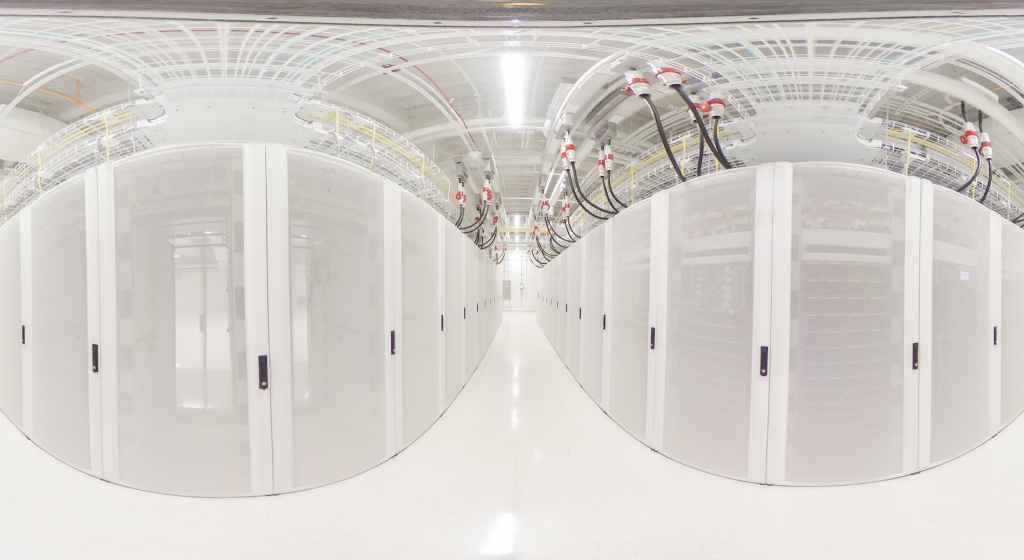 photo of a data center taken with a fish eye lens